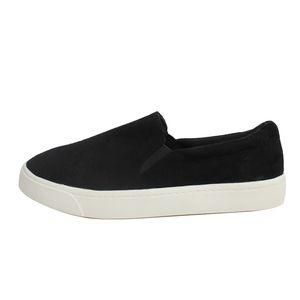 Shoes - Black Elastic White Sole Slip On Loafer